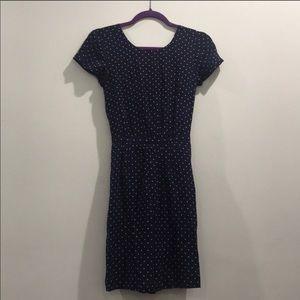 Madewell Navy Star & Dot Dress w Cutouts on Back